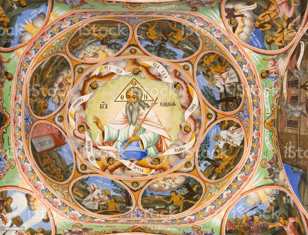 Ancient religious paintings from Rila Monastery in Bulgaria. stock photo