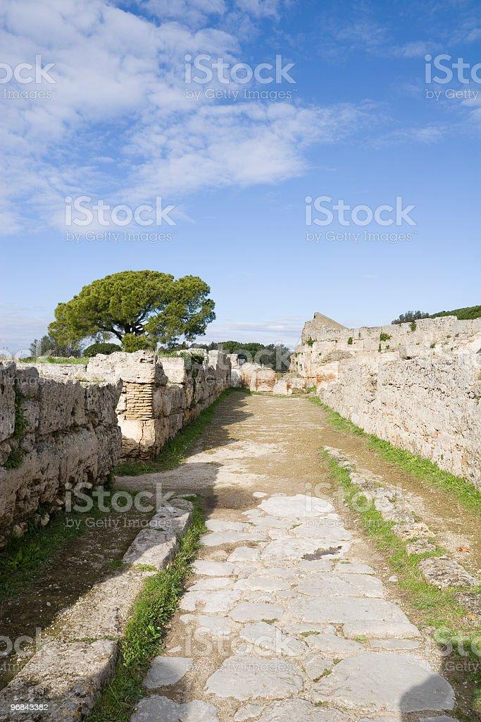 Ancient road Ruin(Paestum, Italy) royalty-free stock photo
