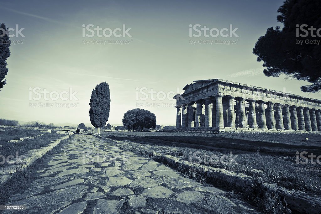 Ancient road ,Valley of the Temples in Paestum, Italy stock photo