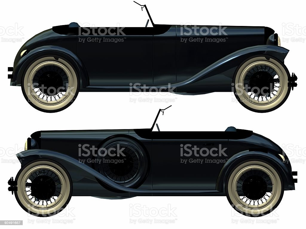 antique roadster vector art illustration