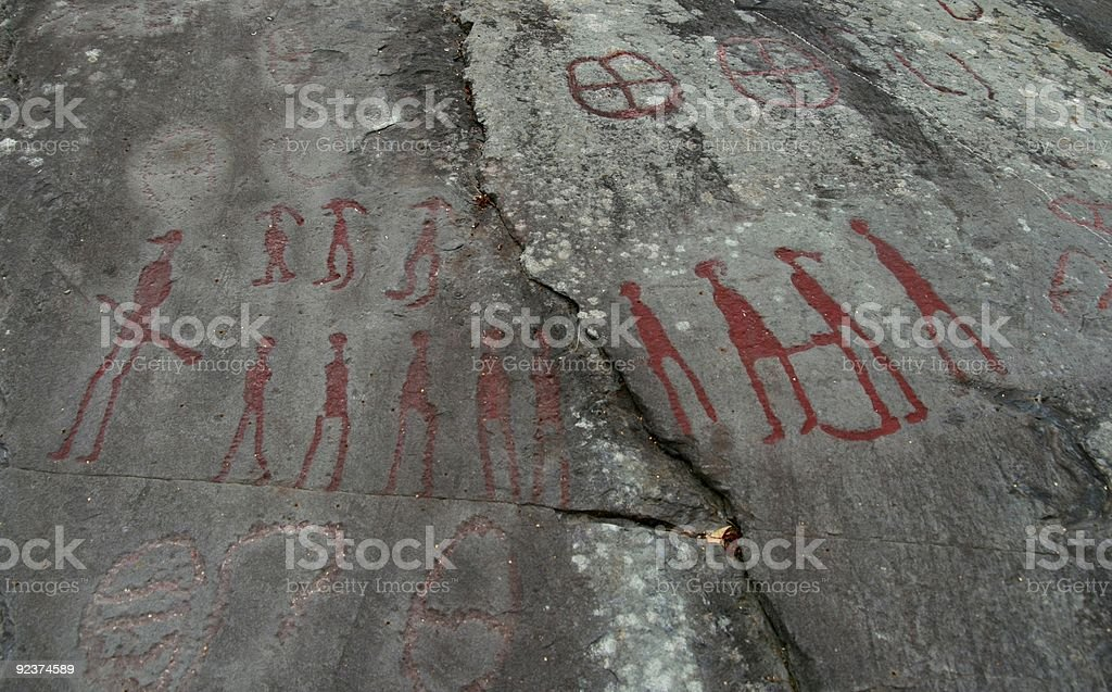 Ancient rock carvings stock photo