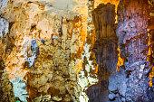 Ancient Rock Formations at Thien Cung Cave, Halong Bay, Vietnam