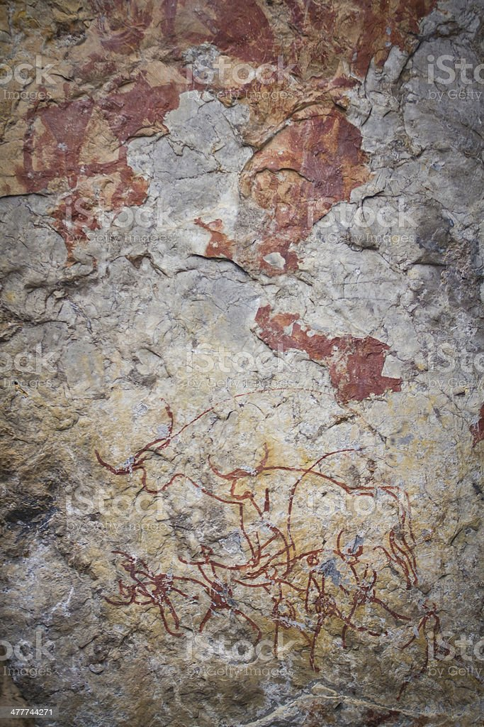 Ancient rock paintings in lampang Thailand royalty-free stock photo