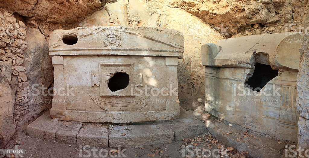 Ancient rock tombs royalty-free stock photo