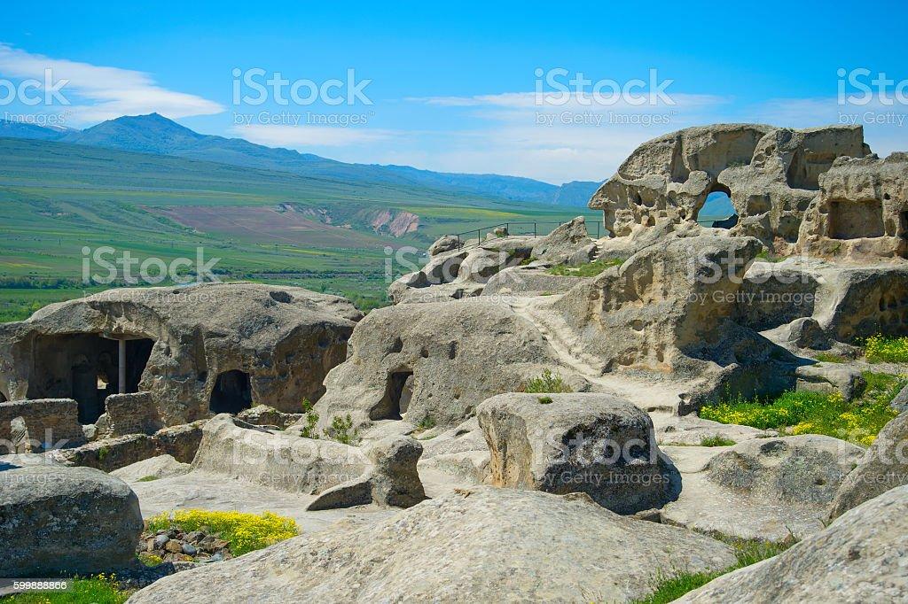 Ancient rock town, Georgia stock photo
