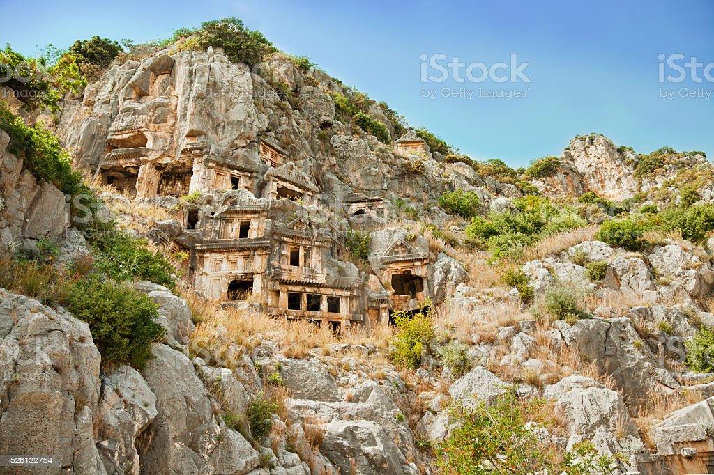 Ancient rock-cut tombs in Myra, Demre, Turkey stock photo