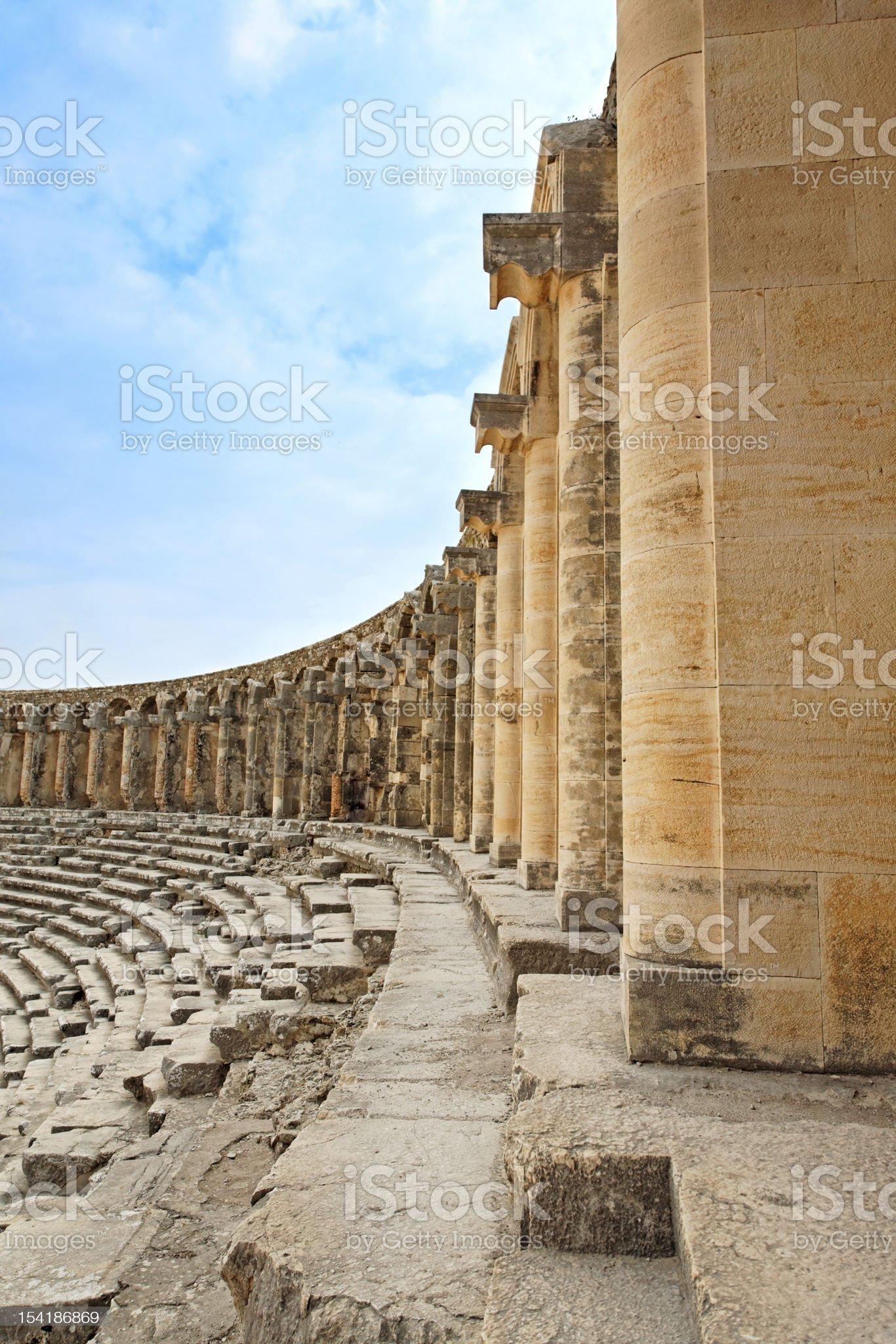 Ancient roman amphitheater Aspendos. royalty-free stock photo