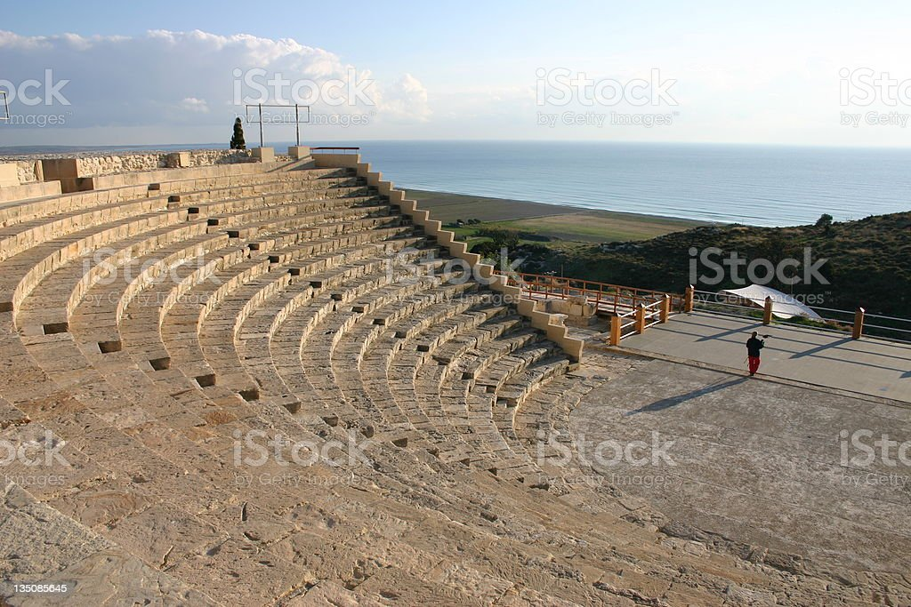 Ancient Roman amphitheater in Cyprus overlooking water stock photo