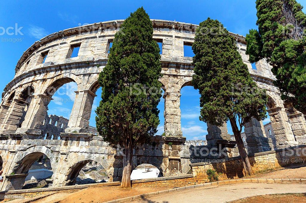 Ancient Roman Amphitheater in Pula, Croatia, Europe stock photo