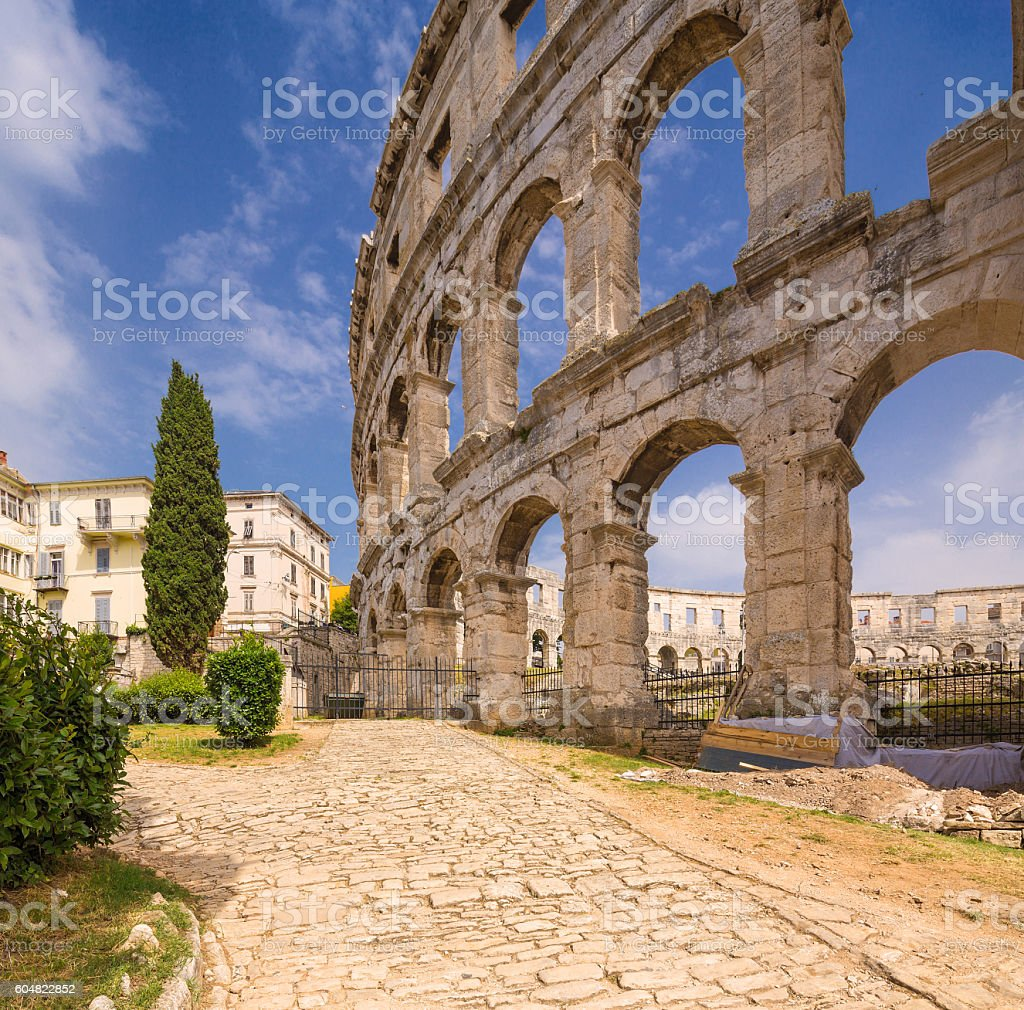 Ancient Roman amphitheater (arena) in Pula. Croatia. stock photo