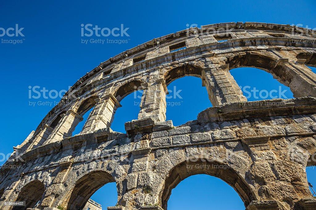 Ancient Roman amphitheater in Pula, Croatia. UNESCO site stock photo