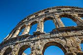 Ancient Roman amphitheater in Pula, Croatia. UNESCO site
