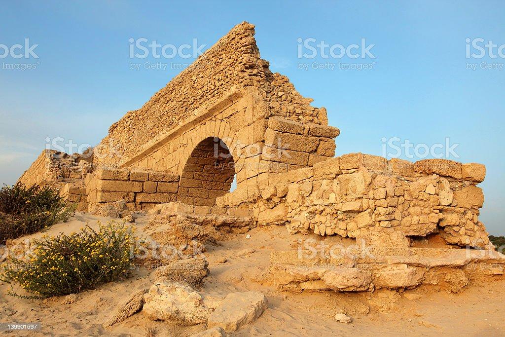 Ancient Roman aqueduct in Ceasarea stock photo