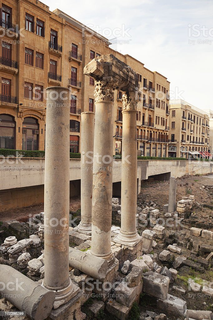 Ancient Roman Baths and Columns of Beirut, Lebanon royalty-free stock photo