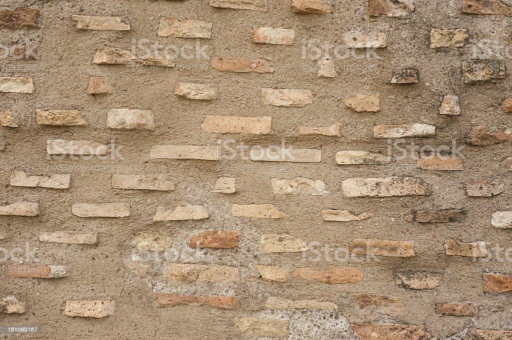 Ancient Roman brick wall stock photo
