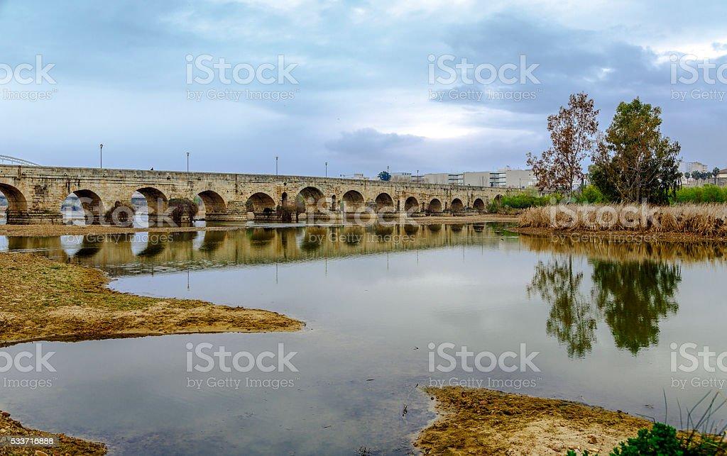 ancient Roman bridge over the Guadiana River, in Merida, Spain stock photo