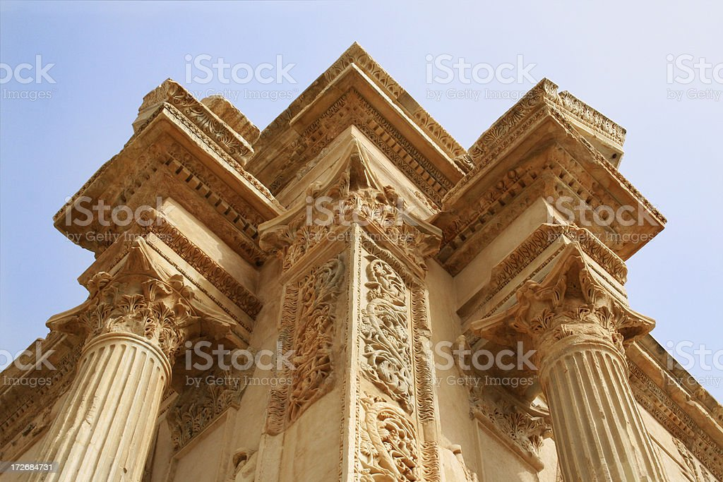 Ancient Roman Building: Leptis Magna royalty-free stock photo