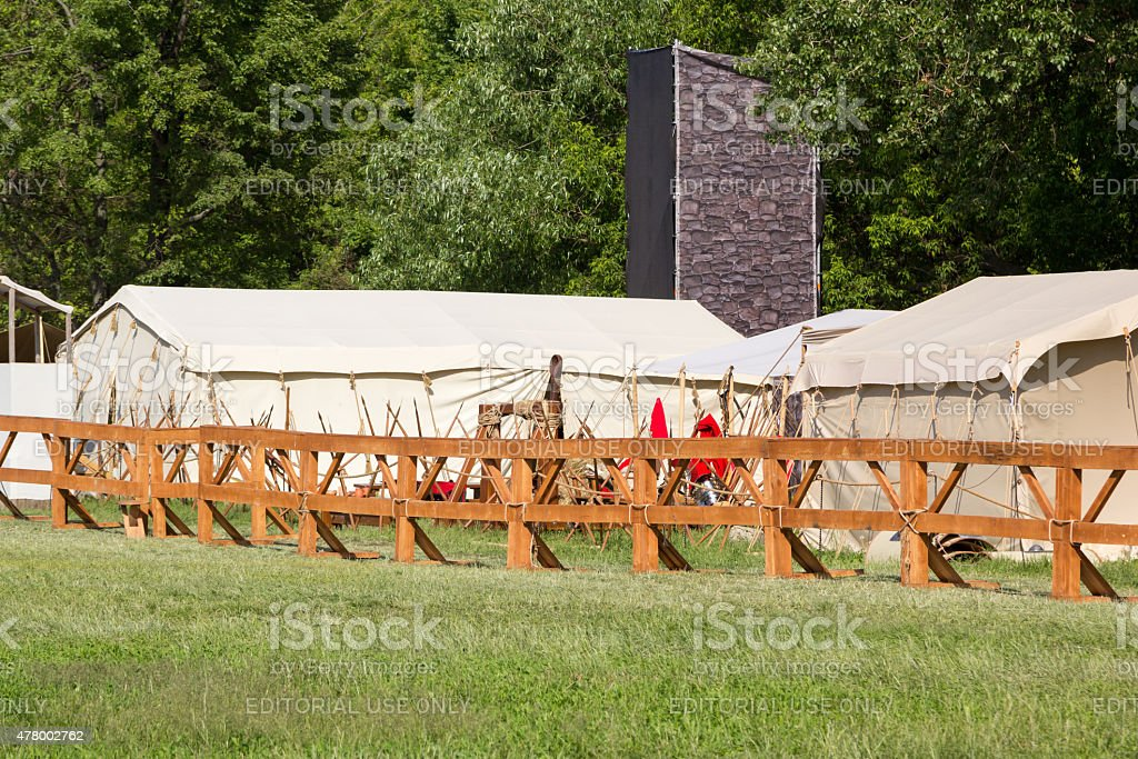 ancient Roman camp with a catapult stock photo