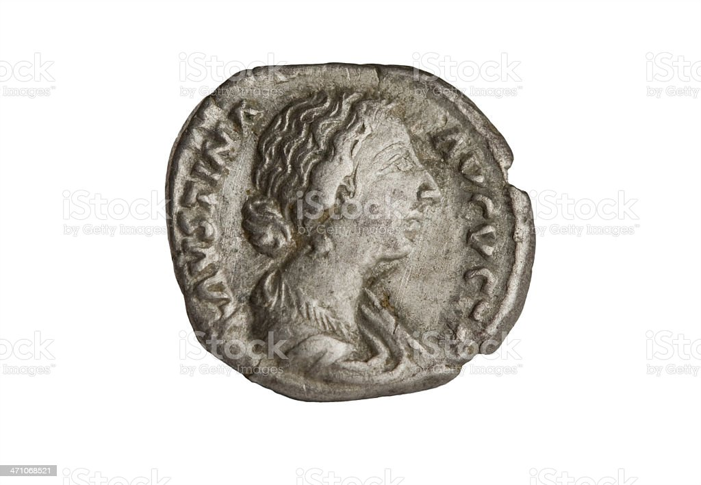 Ancient Roman Coin - Faustina the Younger stock photo