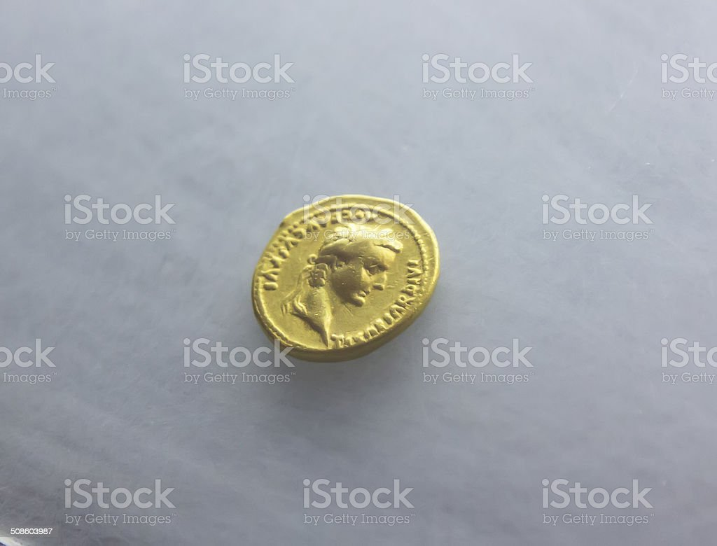 Ancient Roman coin of the first century stock photo