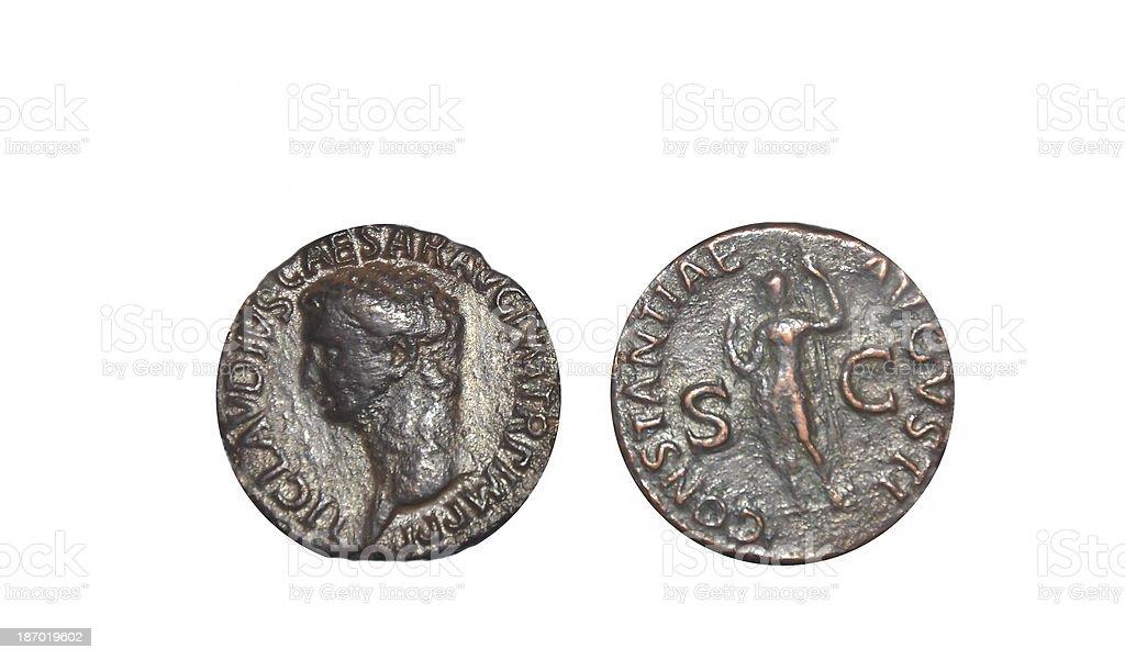 Ancient Roman coins stock photo