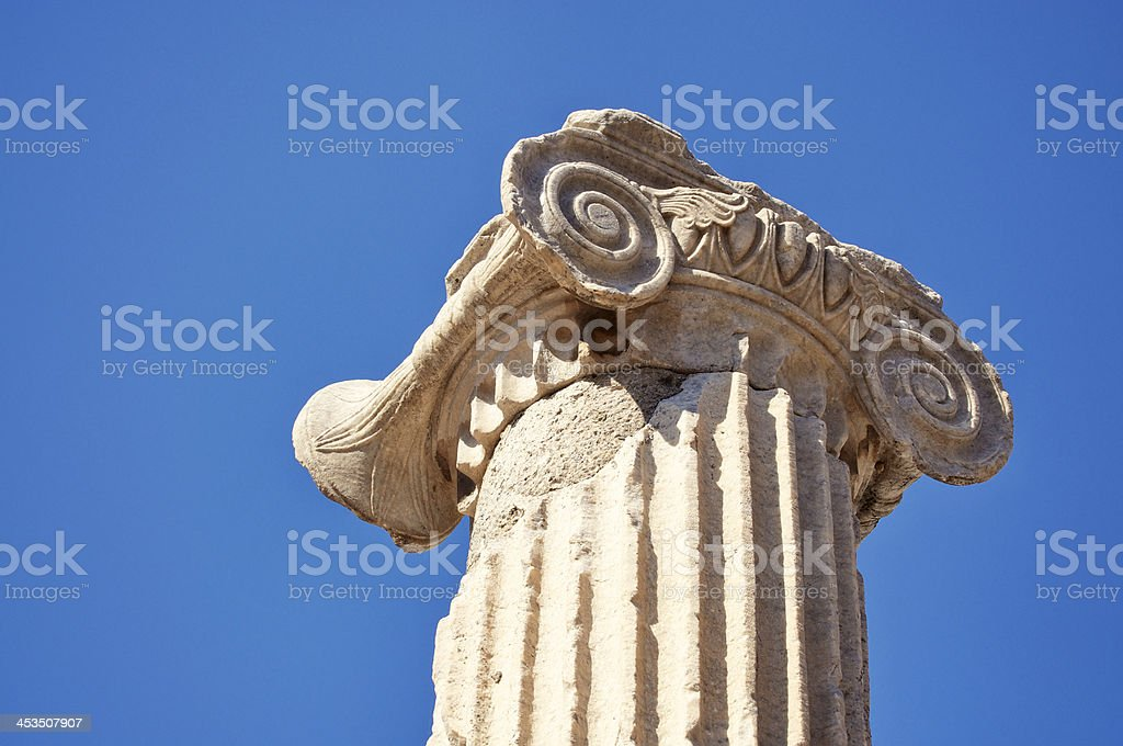 Ancient Roman Column Outdoors Blue Sky Horizontal royalty-free stock photo