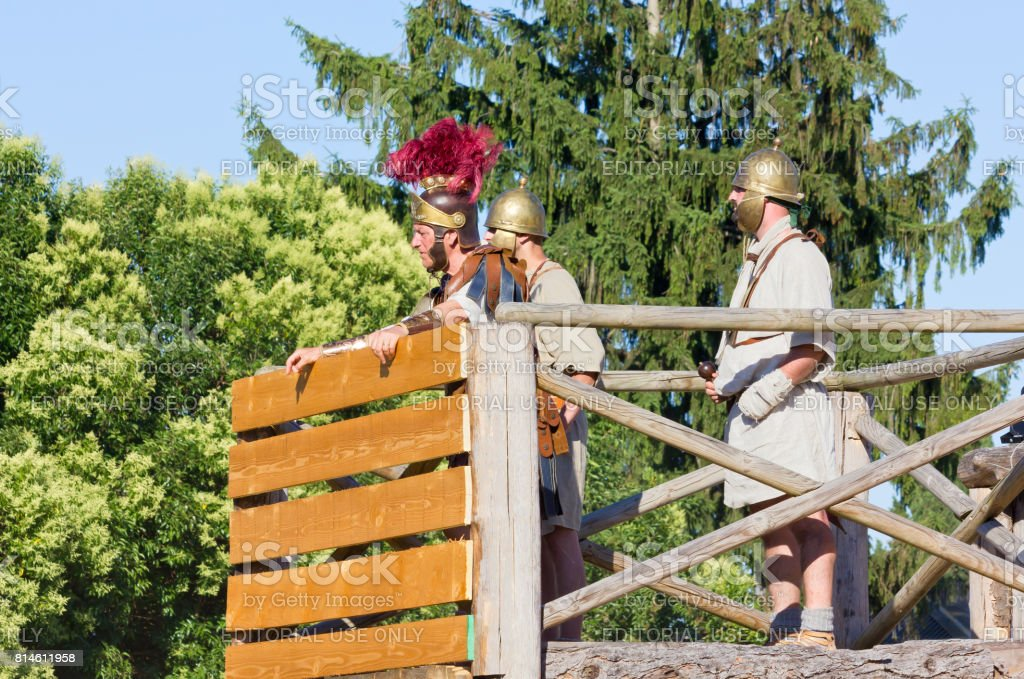 Ancient Roman Commander and Two Soldiers stock photo