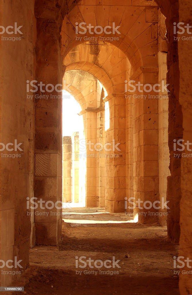 Ancient Roman corridor stock photo