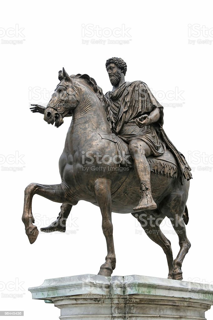 Ancient Roman Equestrian Statue Isolated royalty-free stock photo