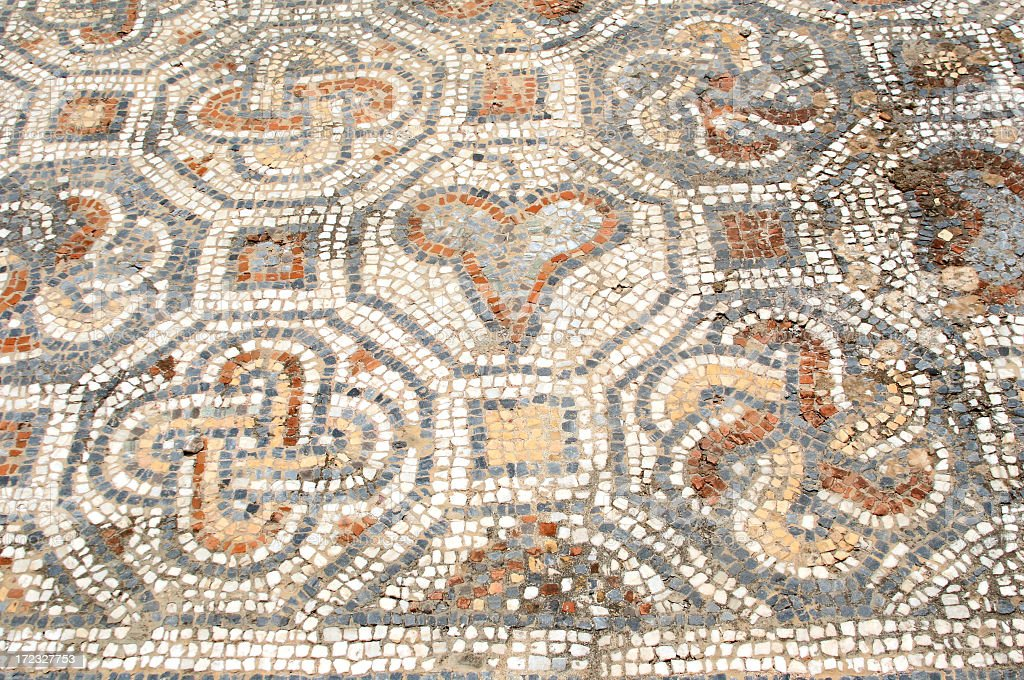Ancient Roman Floor Mosaic, Ephesus, Turkey royalty-free stock photo