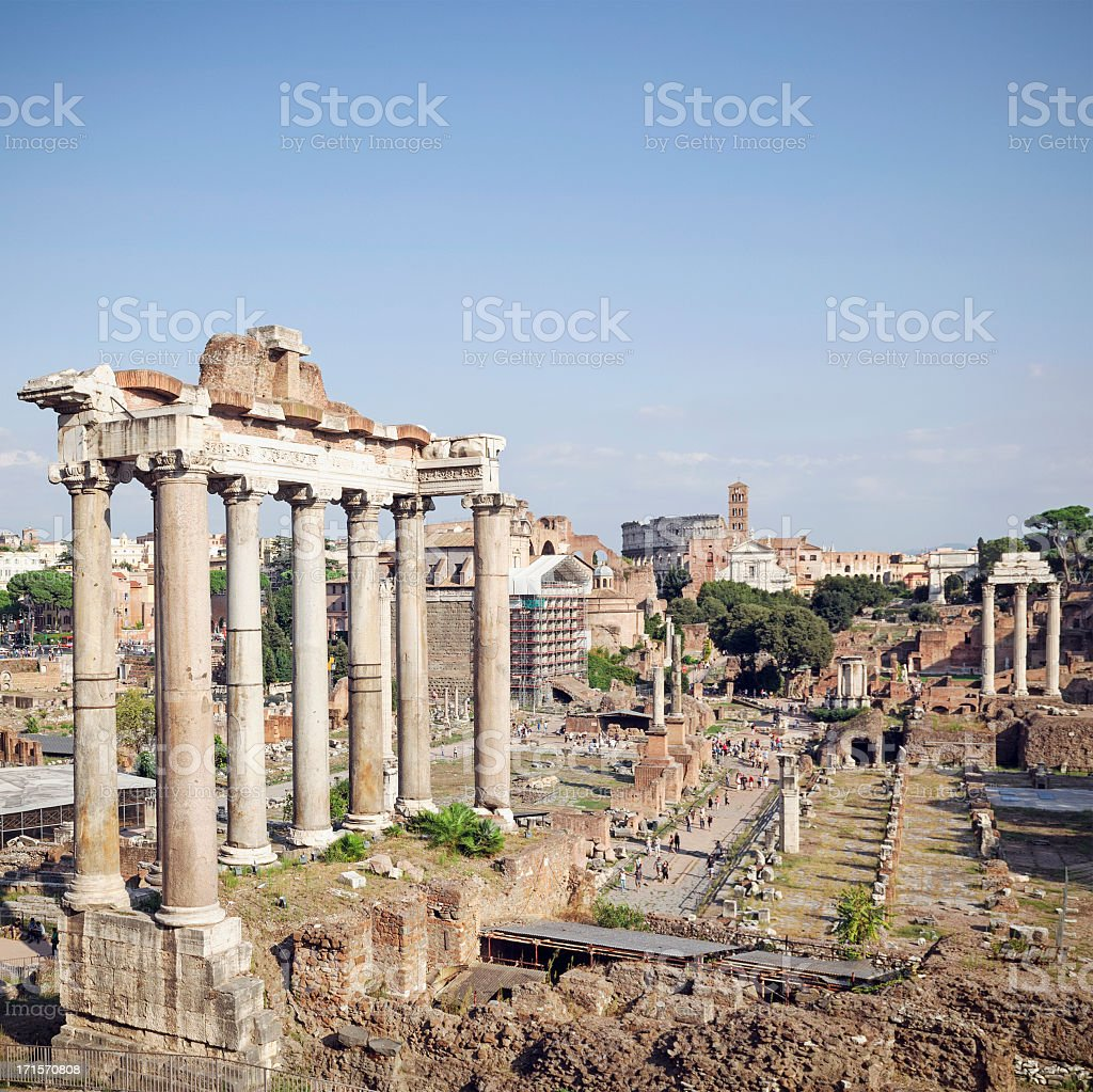 Ancient Roman Forum in Central Rome stock photo