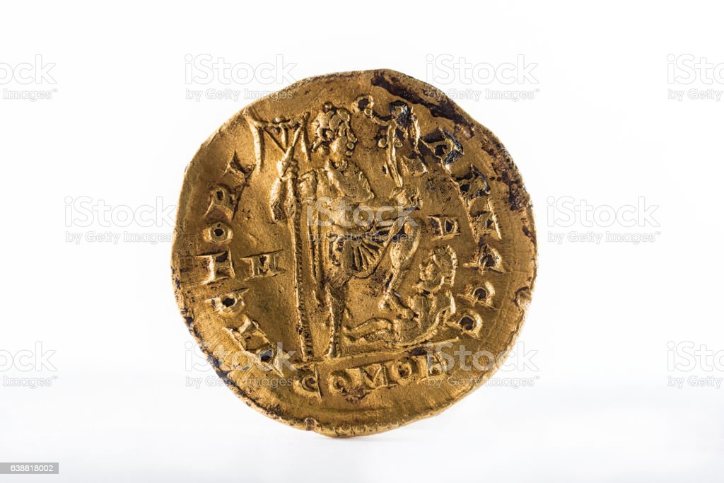 Ancient Roman gold coin stock photo