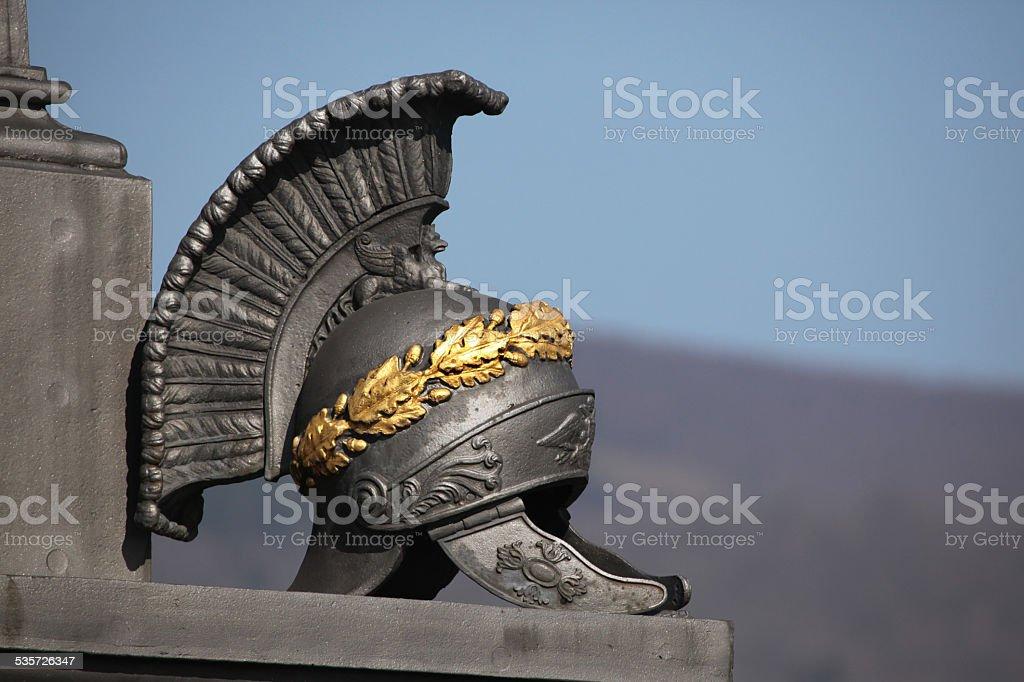 Ancient Roman helmet. Memorial the Battle of Kulm. stock photo