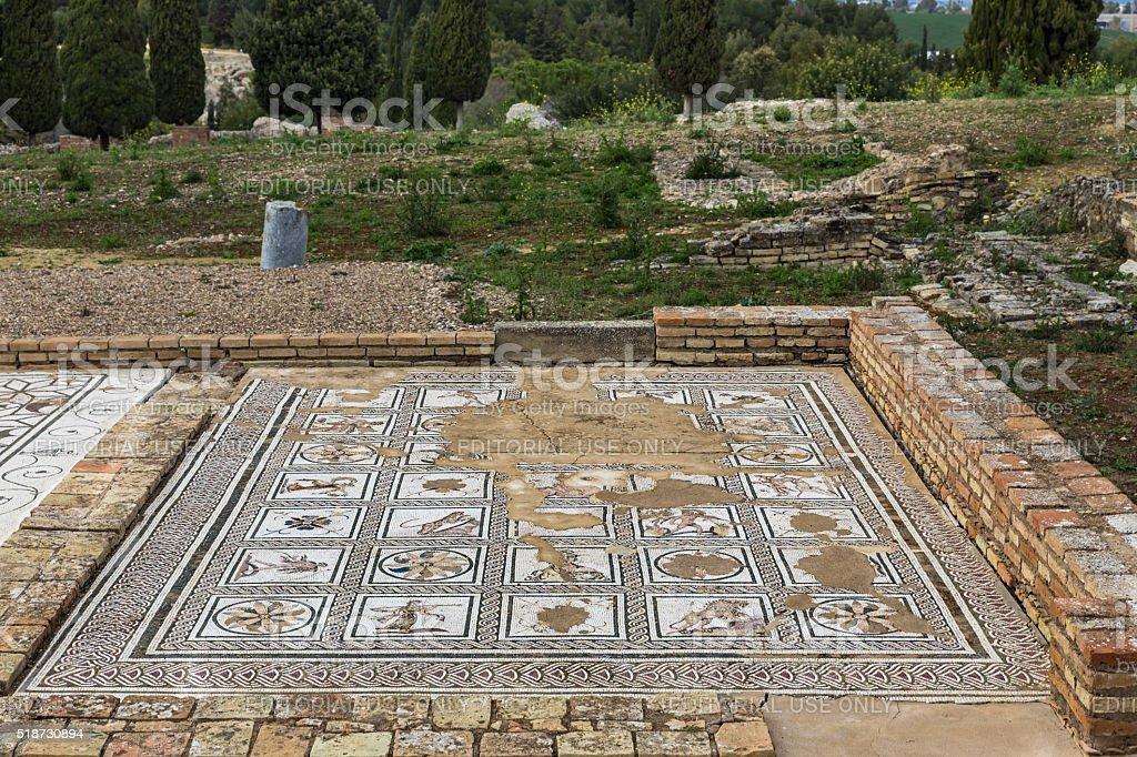 Ancient roman mosaic in Italica stock photo