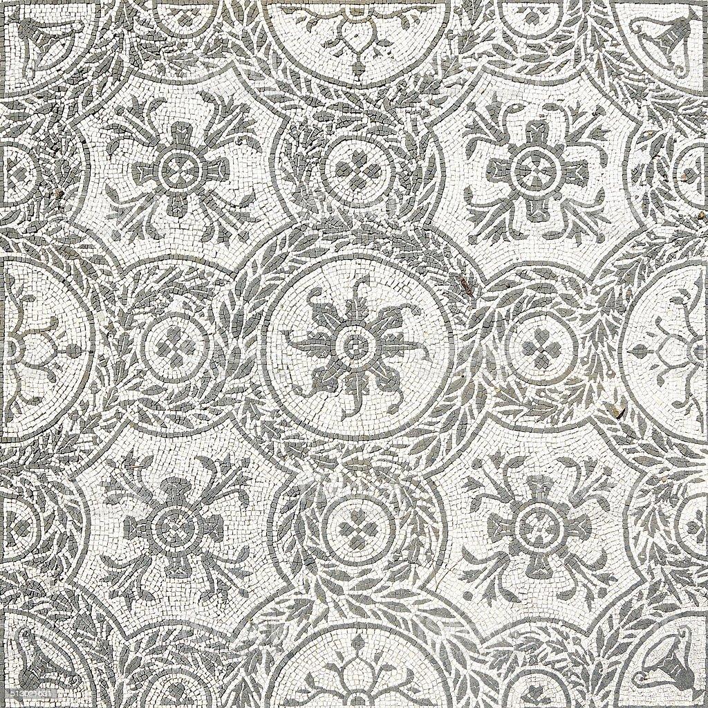 Ancient roman mosaic in Villa Adriana, Tivoli stock photo