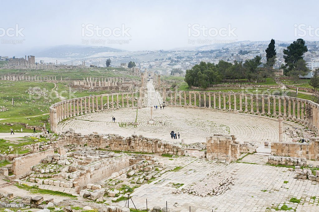 ancient roman oval forum in antique town Jerash stock photo