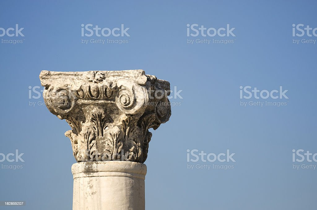 Ancient Roman Ruin Column Blue Sky Outdoors Horizontal royalty-free stock photo