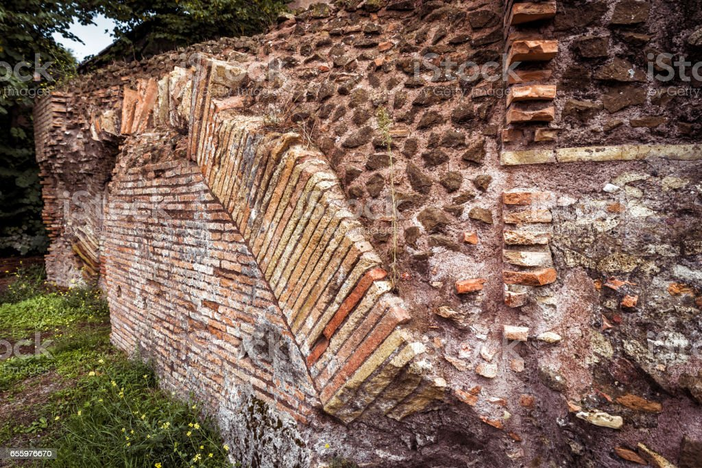 Ancient Roman ruins in Rome stock photo