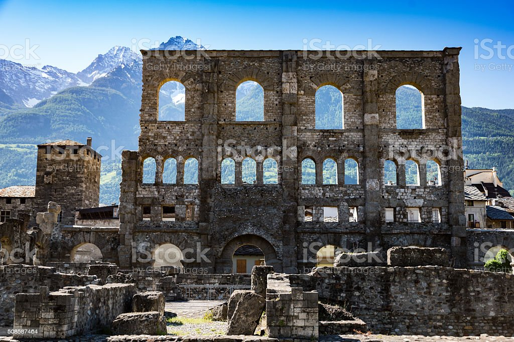 ancient roman ruins in the city of Aosta, Italy stock photo