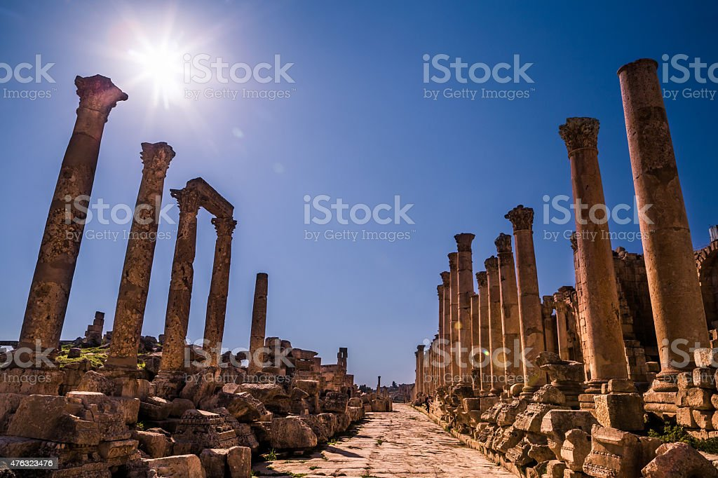 ancient roman street stock photo