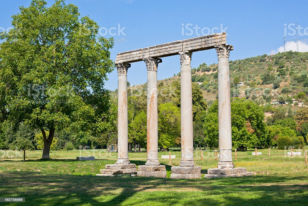 Ancient Roman Temple in Riez, France stock photo