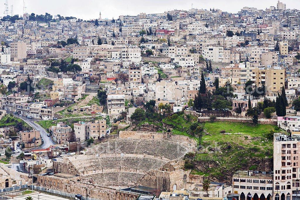 ancient Roman theater in Amman , Jordan stock photo