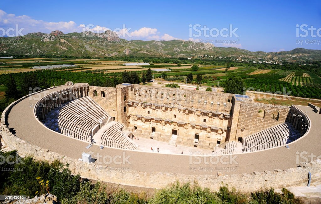 Ancient roman theater in aspendos, Antalya,Turkey stock photo