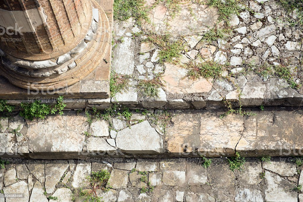 Ancient Rome Ruins Roman Forum Stairway closeup stock photo