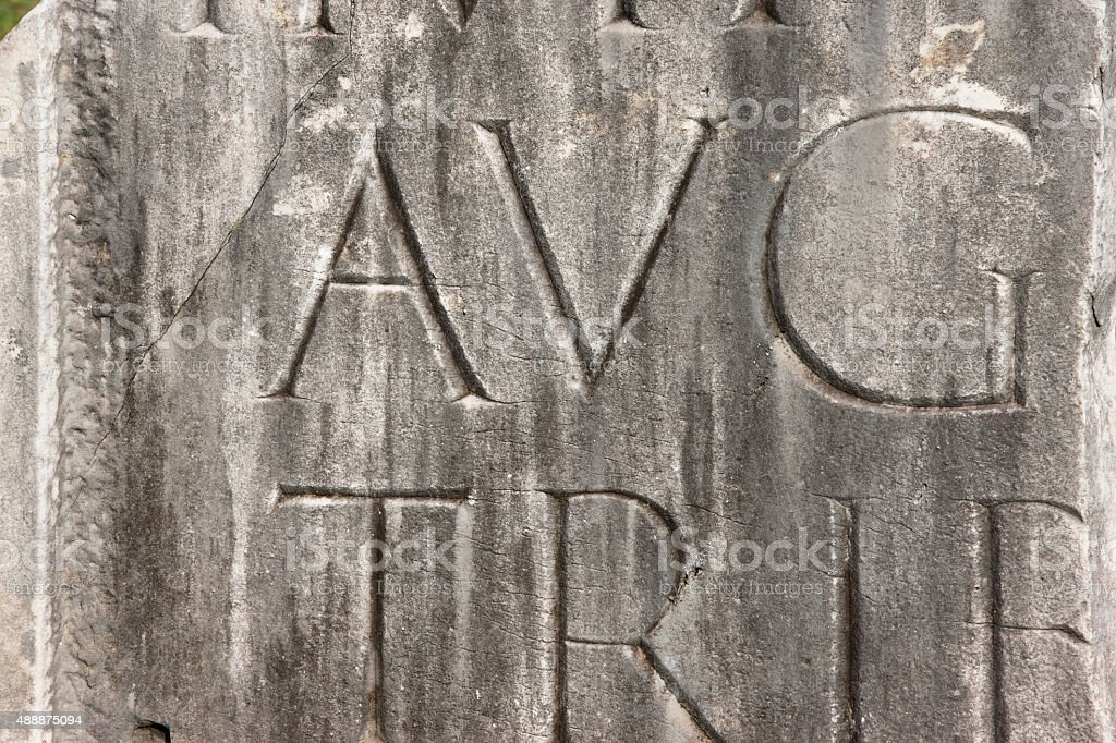 Ancient Rome writing -- latin letters stock photo