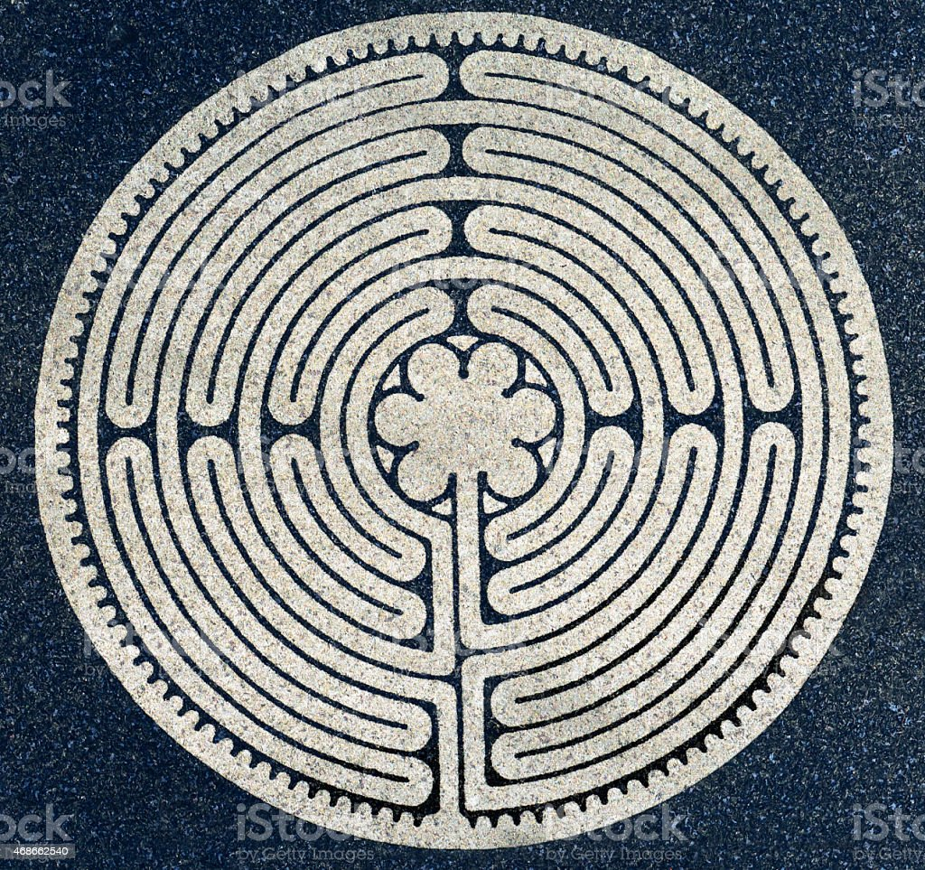 Ancient Round Labyrinth Symbol stock photo