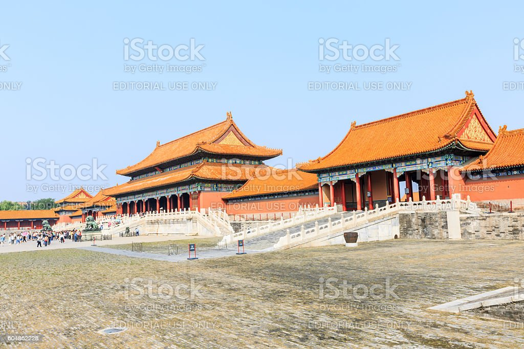 ancient Royal Palace Forbidden City Building scene in Beijing,China stock photo