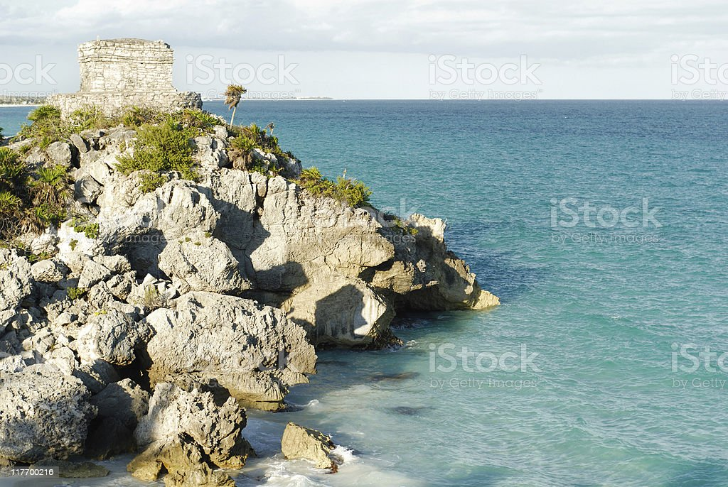 Ancient ruin and beautiful beach stock photo
