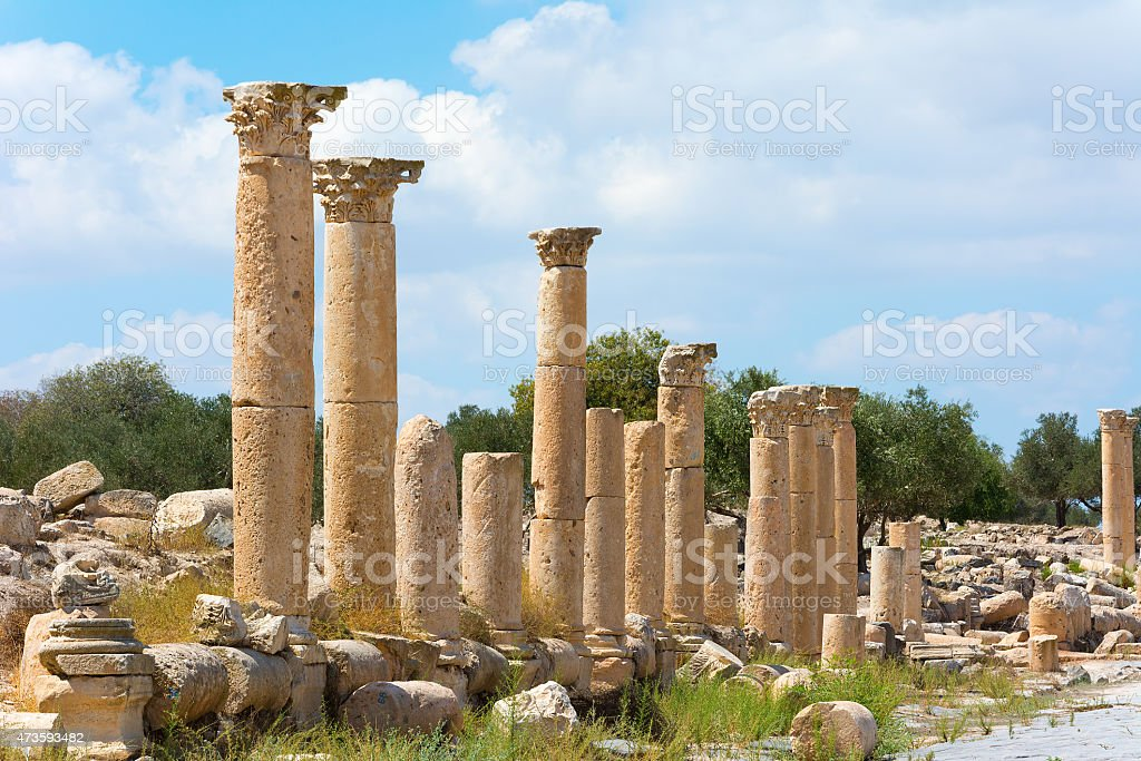 Ancient ruin at Umm Qais in Jordan stock photo