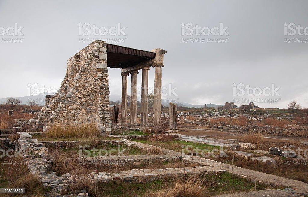 Ancient ruin in Hierapolis, Turkey stock photo